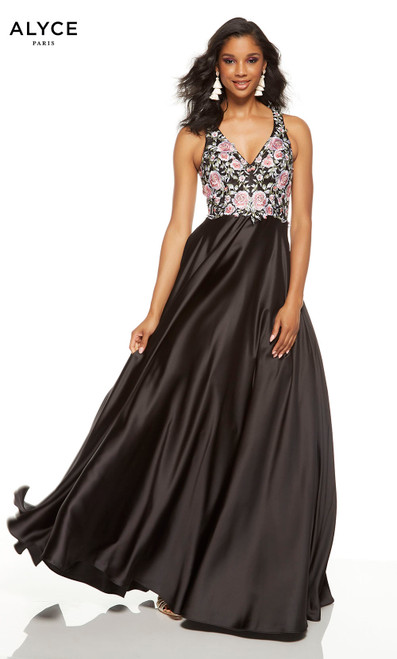 Black prom dress with pink and white floral embroidery on bodice and a v-shaped neckline