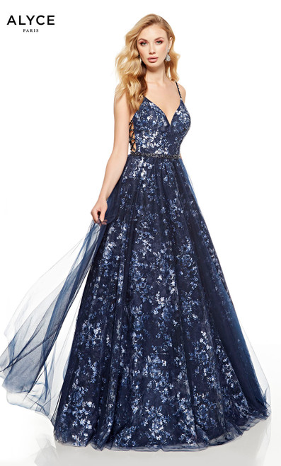 Midnight Blue floral tulle ball gown with a beaded belt and V-neck