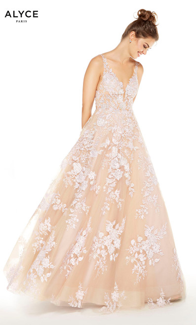 Cashmere Rose formal tulle ball gown with white floral embroidery and a plunging neckline