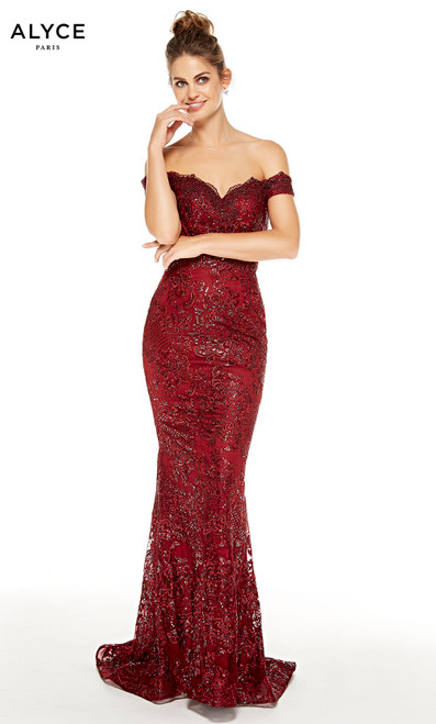 Burgundy lace bodycon off the shoulder prom dress