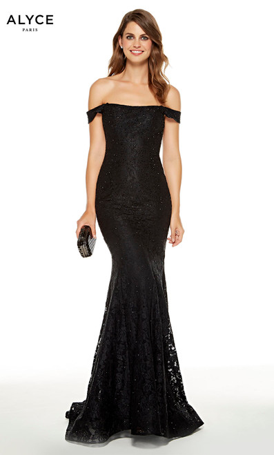 Black lace off the shoulder mermaid dress