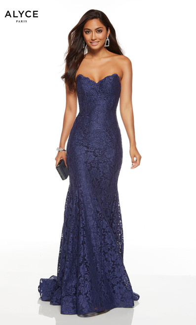 Midnight Blue strapless lace wedding guest dress