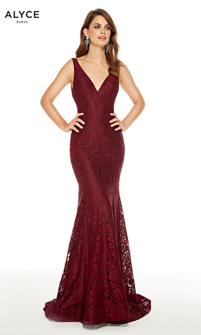 Wine Red lace formal mermaid dress with a V-neckline