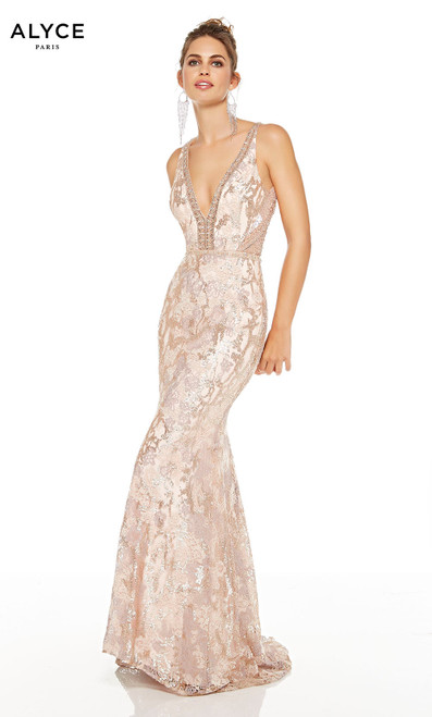 Latte-Chalk sequin red-carpet dress with a plunging neckline