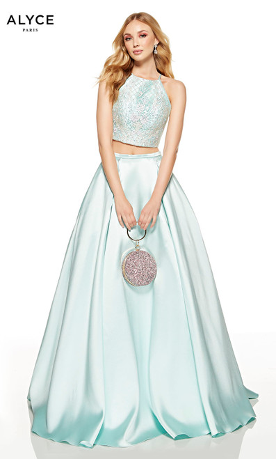 Sea Glass two piece ball gown with an embroidered halter crop top