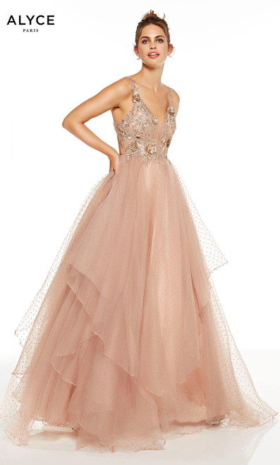 Latte layered ball gown with 3d florals on bodice and a plunging neckline