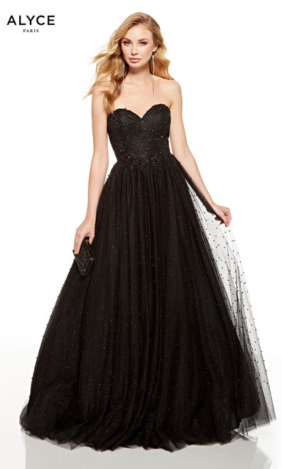 Black beaded strapless formal ball gown