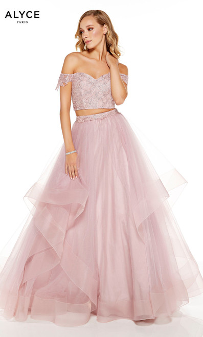Cashmere Rose two piece layered ball gown with an off the shoulder crop top