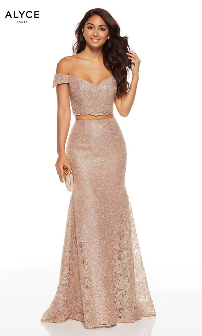 Rose Gold lace two piece formal dress with an off shoulder crop top