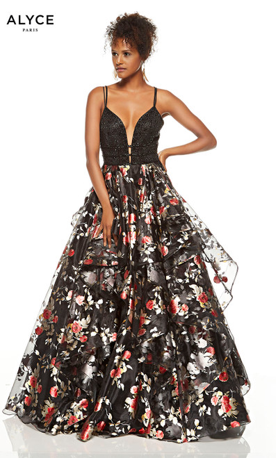 Black layered ball gown with red and gold flowers on skirt and a plunging neckline
