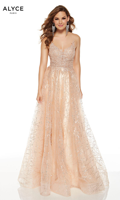Champagne colored glitter lace prom dress with a V-neck