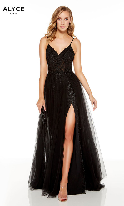 Black embroidered prom dress with a v-neckline and front slit