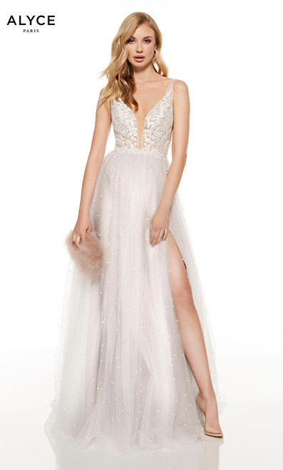 Cashmere Rose-White red-carpet dress with a plunging neckline, pearl accents and a front slit