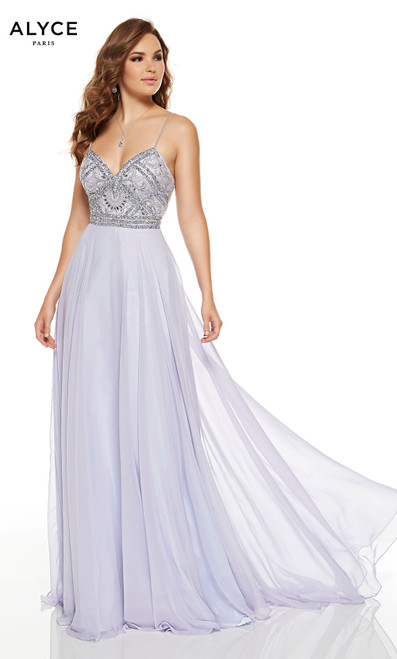 Flowy Ice Lilac wedding guest dress with silver embellishments on bodice and a V-neckline