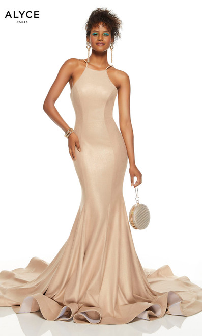 Sand colored glitter suede mermaid dress with a halter neckline and sweep train