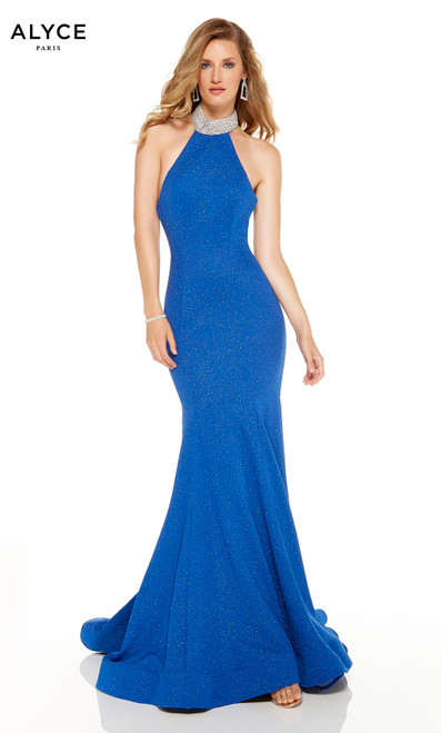 Sapphire Blue mermaid style prom dress with a high rhinestone-encrusted neckline