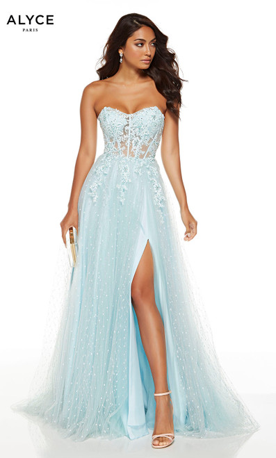 Flowy Hush Blue strapless blue prom dress with corseted bodice and a front slit