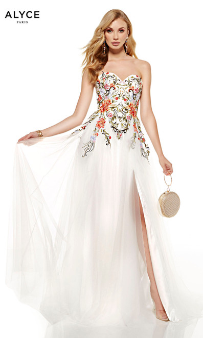 Diamond White-Multi strapless formal dress with floral embroidery on bodice and a front slit