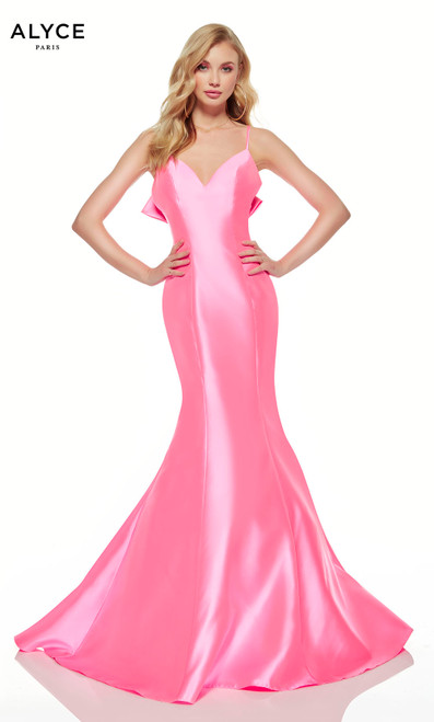 Neon Pink mermaid dress with a V-neck