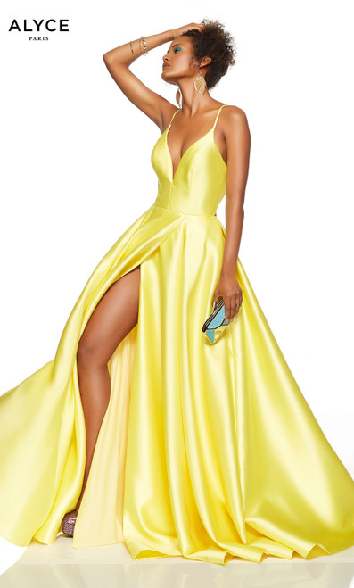Limoncello yellow prom dress with a plunging neckline and a slit