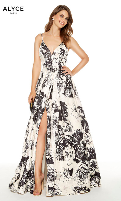 French Vanilla jacquard print prom dress with a V-neck and a slit