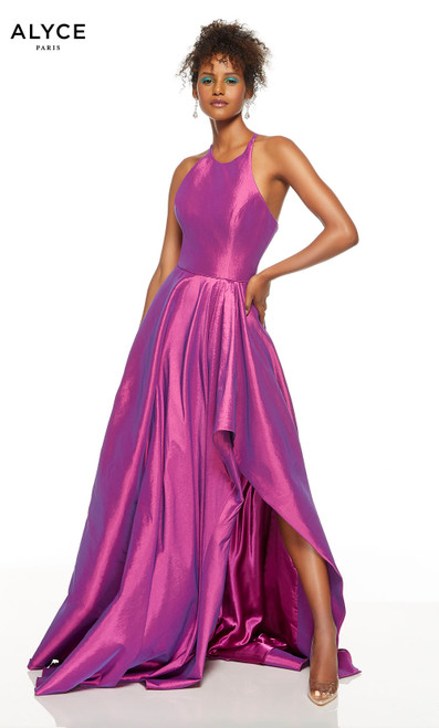 Purple formal dress with a halter neckline and a slit