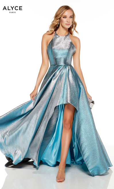 Peacock-Silver metallic lame high-low prom gown with a halter neckline