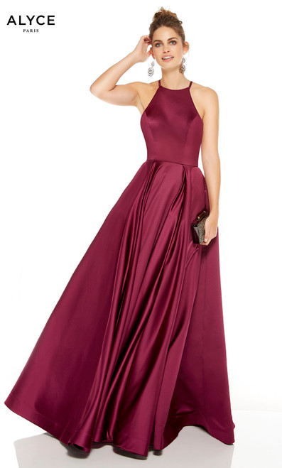 Black Cherry wedding guest dress with a halter neckline