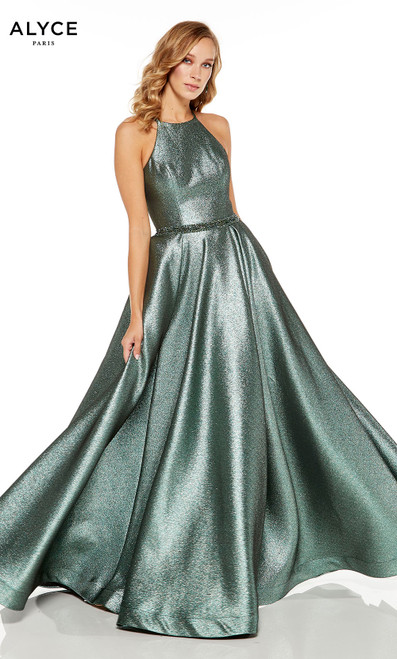 Metallic Sage formal dress with a beaded waistline and a halter neckline