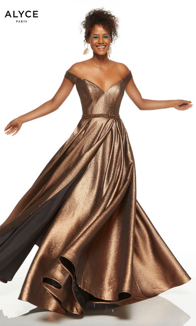Bronze off the shoulder red-carpet dress with a beaded waistline and slit