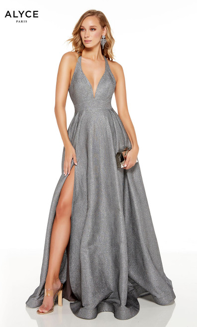 Dripping Diamonds (Silver) prom dress with plunging neckline and a slit