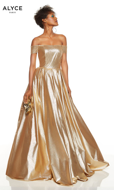 Gold sparkle lame ball gown with an off the shoulder neckline