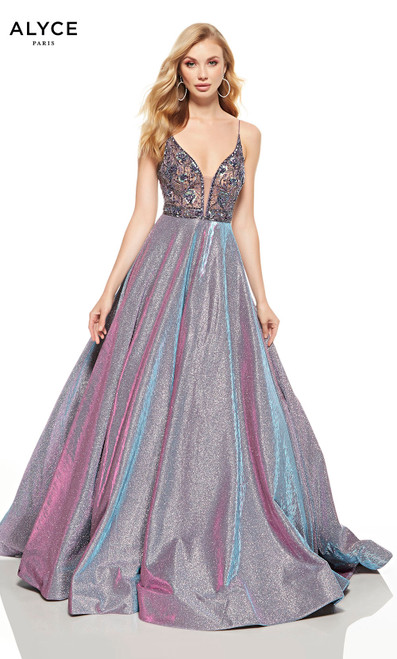 Purple glitter chrome ball gown with a beaded bodice and a plunging neckline
