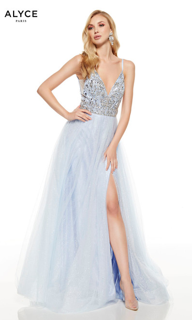 Flowy Icelandic Blue prom dress with a silver embellished bodice, plunging neckline and a slit