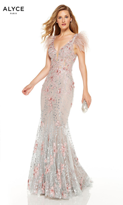 Fully embellished Cashmere Rose-Silver red-carpet dress with a plunging neckline and feathered sleeves