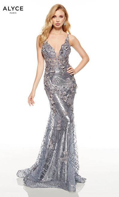 Fully embellished Charcoal mermaid dress with a plunging neckline