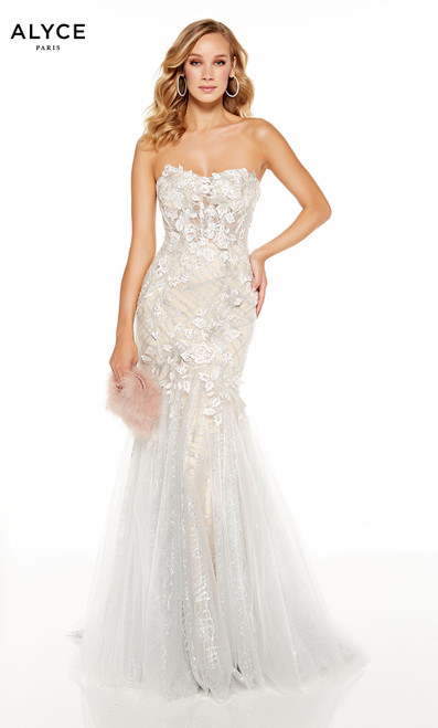 Fully embellished Diamond White-Sand strapless mermaid dress