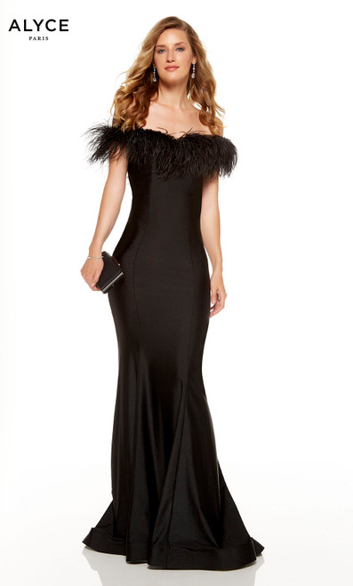 Black bodycon formal dress with a feathered off the shoulder neckline