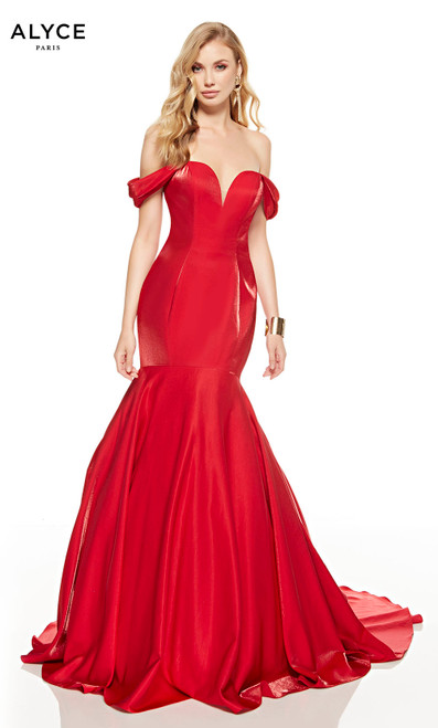Red mermaid prom dress with an off shoulder neckline