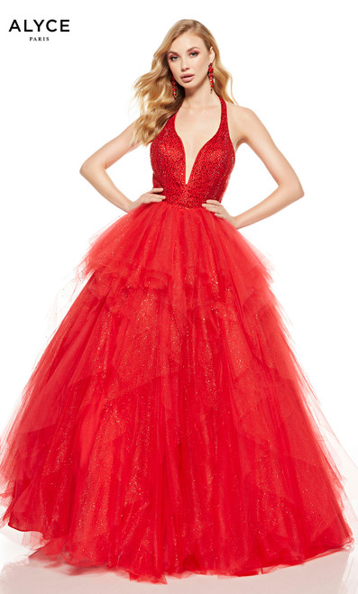 Red layered formal ball gown with an embellished bodice and a plunging neckline