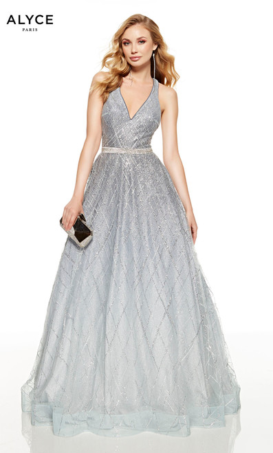 Dripping Diamonds-Silver glitter formal ball gown with a V-neckline