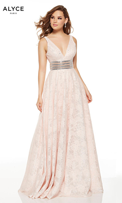 Blush sequin lace prom dress with a silver beaded belt and V-neck