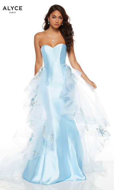 Powder Blue strapless mermaid dress with a detachable train