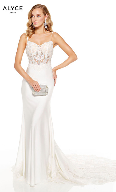 Diamond White formal gown with a lace bodice, slight V-neck and sweep train with lace detail