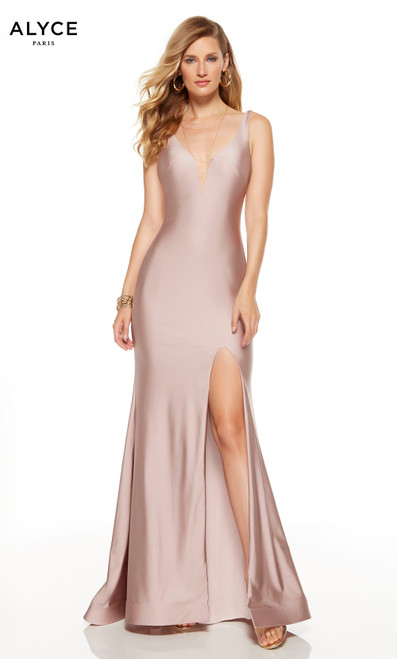 Cashmere Rose red-carpet dress with plunging neckline and a slit