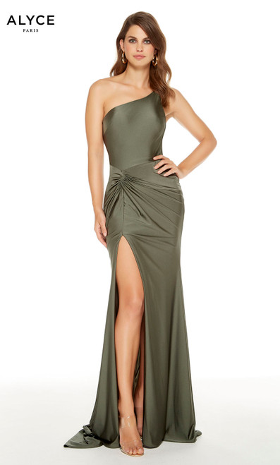 One shoulder Safari Green guest of wedding dress with a gathered waist and a front slit