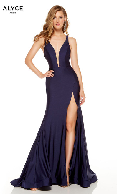 Midnight Blue prom dress with a plunging neckline and a slit