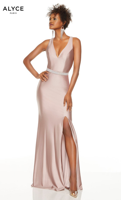 Cashmere Rose formal dress with a V-neckline, rhinestone belt and a slit