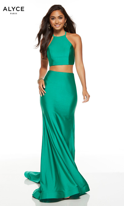 Emerald two piece bodycon dress with a halter neckline