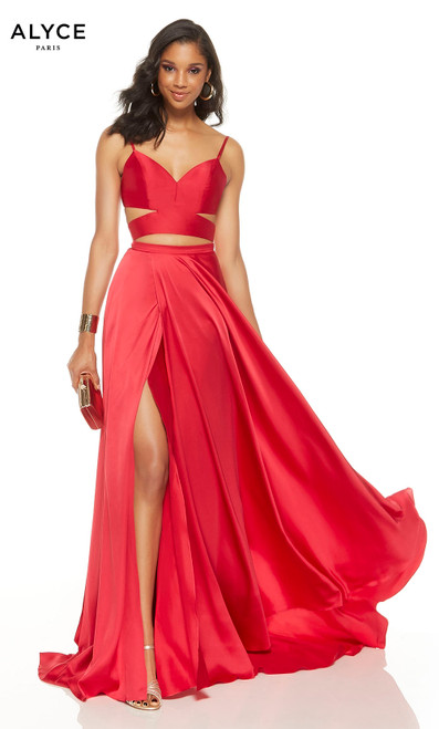 Cerise two piece formal dress with a cutout V-neck top and a high slit